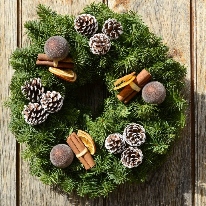 chocolate orange christmas wreath