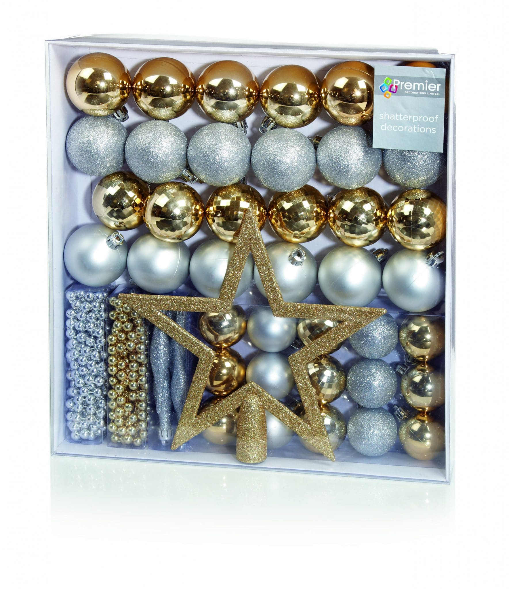 50 piece mixed tree decoration set gold silver send me a christmas tree
